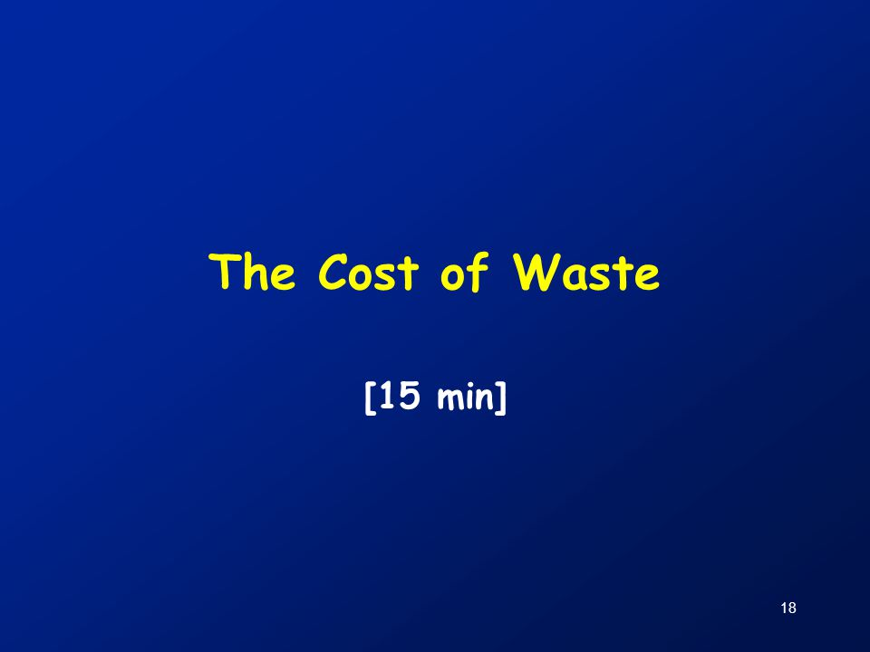 The Cost of Waste [15 min]